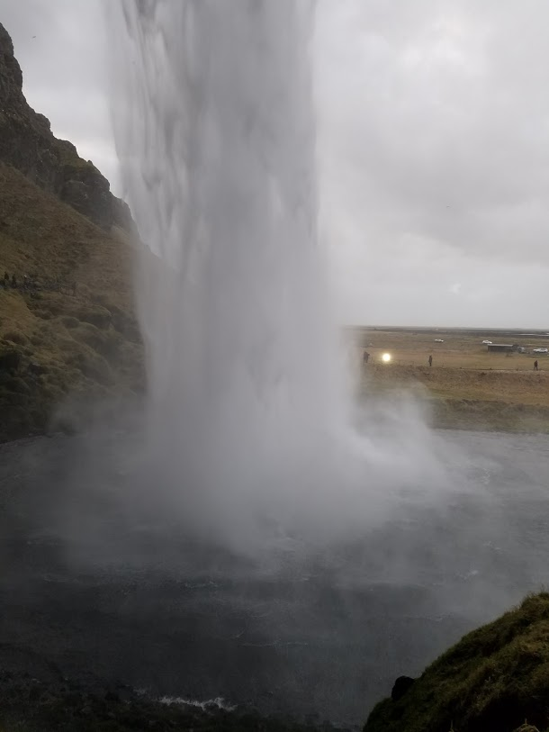 BJ Knapp author of Beside the Music visits Seljalandsfoss Iceland