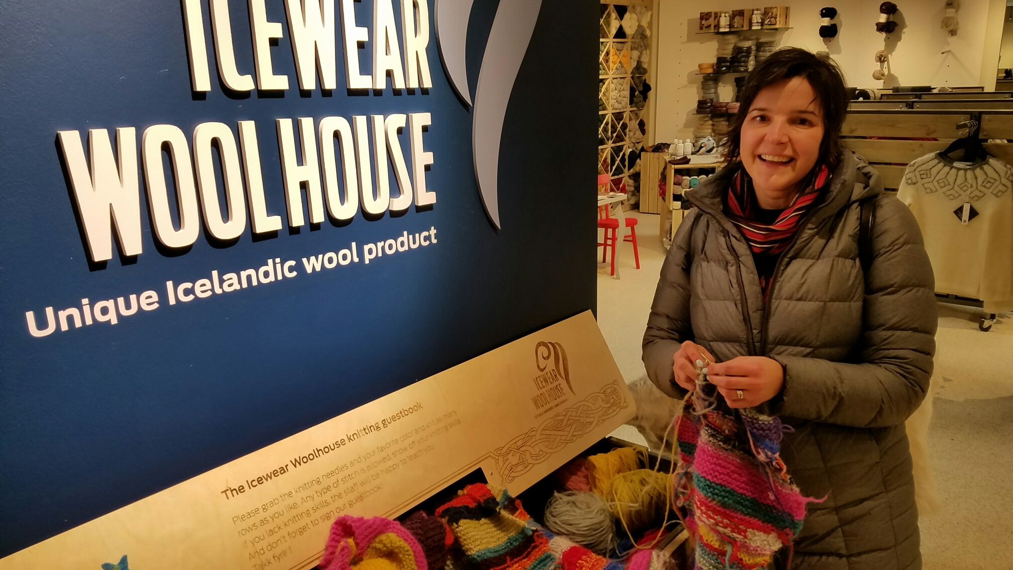 BJ Knapp author of Beside the Music knitting at Ice Wear Reykjavik Iceland